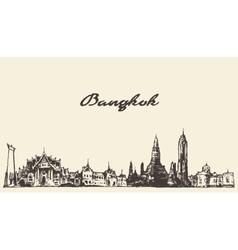 Bangkok skyline Thailand hand drawn vector image vector image