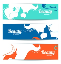 Banners with stylish beautiful woman silhouette vector