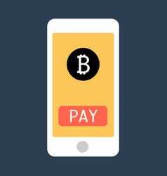 business man hand holding smartphone with bitcoin vector image vector image