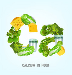 Calcium in food lettering vector