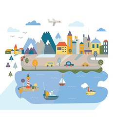 Cartoon flat city with river and mountains vector image