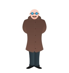 cartoon isolated manbald with glasses and vector image