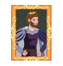 cartoon portrait of king in golden frame vector image vector image