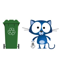 cat recycling vector image vector image