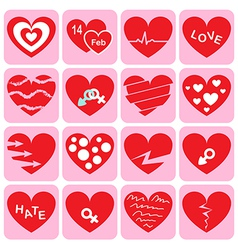 Collection of heart icon vector image vector image