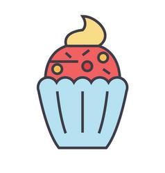 Cupcake concept line icon editable stroke vector