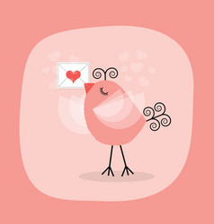 cute little bird holding heart letter emblem vector image