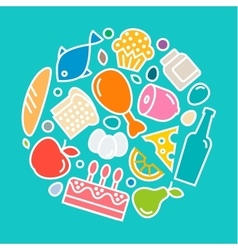 Delicious food icons quality flat style logo vector image vector image