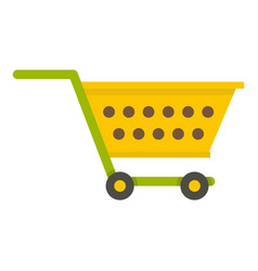 Empty yellow supermarket cart icon isolated vector