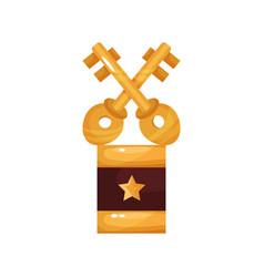 Gold crossed keys award golden statuette cartoon vector