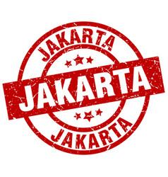 Jakarta red round grunge stamp vector