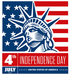 liberty statue head - independence day usa vector image vector image