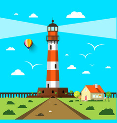 lighthouse with house and hot air balloon on vector image vector image