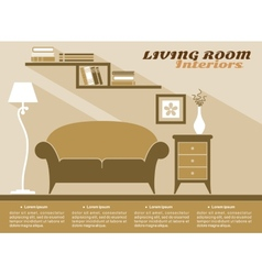 Living room interior flat style vector image vector image