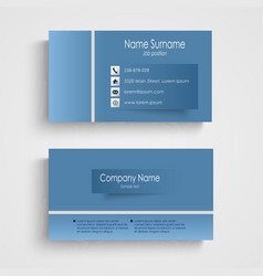 Modern blue business card with sticker template vector