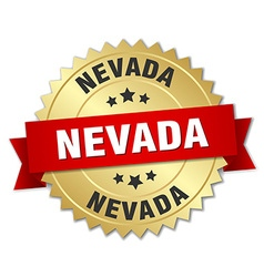 Nevada round golden badge with red ribbon vector
