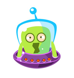 Scared green alien cute cartoon monster colorful vector