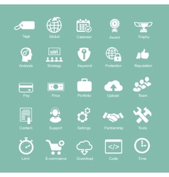 Set silhouetted white seo and internet icons for vector
