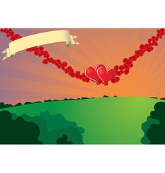 Swinging hearts on rose strings vector