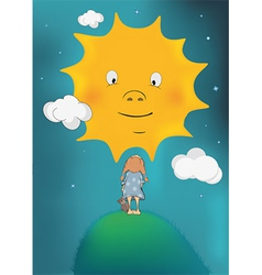 The girl and the sun vector image vector image