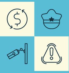 Travel icons set collection of siren pilot hat vector
