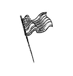 united states of america flag waving sketch vector image vector image
