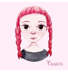 Watercolor horoscope sign cancer vector