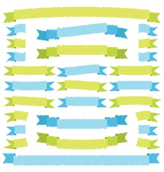 Green and blue ribbons vector