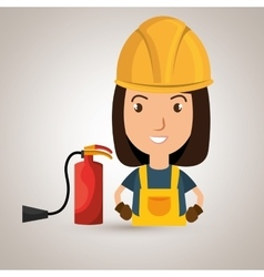 Worker fire extinguisher boots vector