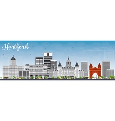 Hartford skyline with gray buildings vector