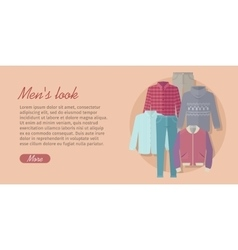 Mens look web banner card with trendy clothes vector