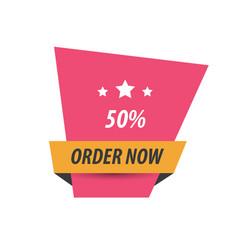 Order now label design pink yellow black vector
