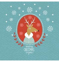 Cute christmas deer portrait vector