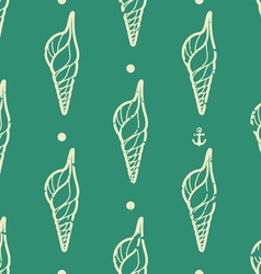 Vintage seashell pattern vector