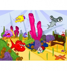 Cartoon sea life vector