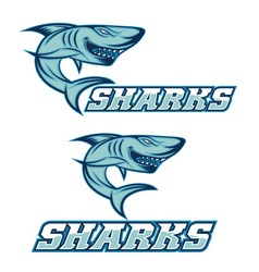 Cartoon aggressive shark for sport team vector