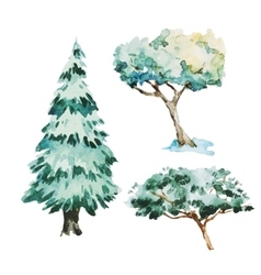 Watercolor trees vector