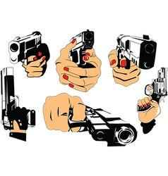 Gun and hand cartoon elements vector