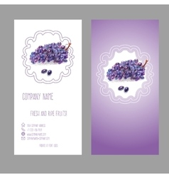 Business card with grape vector