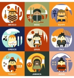 Representatives of different nationalities flat vector