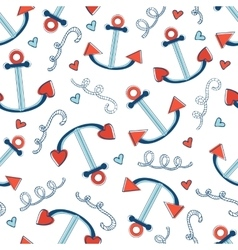 Colorful seamless sea pattern with anchors vector