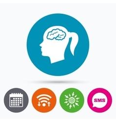 Head with brain sign icon female woman head vector