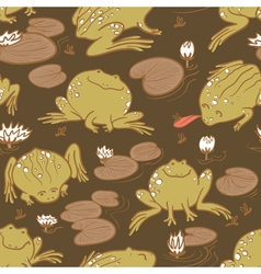 Pattern with frogs and water lily vector