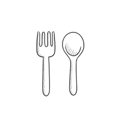 Spoon and fork sketch icon vector