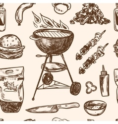 Bbq grill sketch seamless pattern hand drawn vector