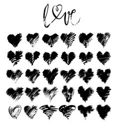 Hand drawn grunge hearts vector