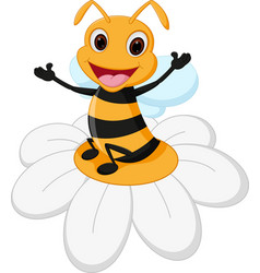 Bee cartoon on flower vector