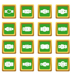 Belt buckles icons set green vector