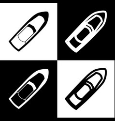Boat sign black and white icons and line vector