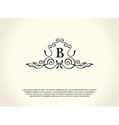 Calligraphic luxury line logo flourishes elegant vector